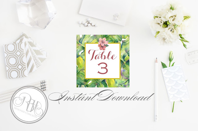 tropical island watercolour place card template by rbh designer concepts