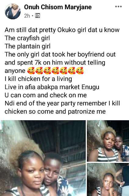 Young Nigerian female poultry farmer narrates how she took boyfriend out, spent 7K on him without noise.