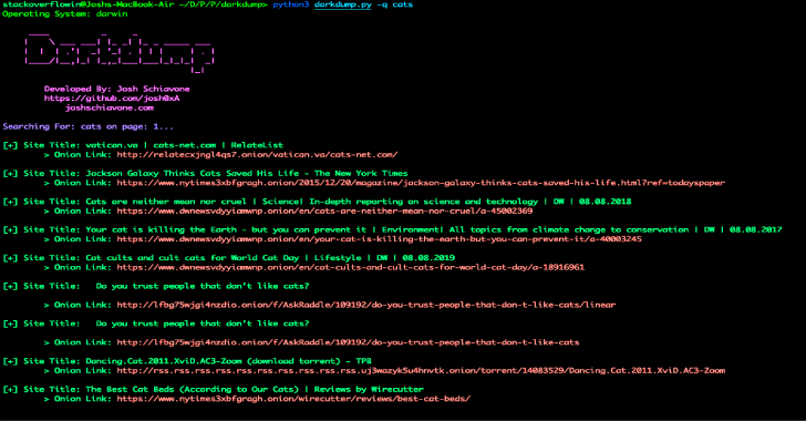 Darkdump : Search The Deep Web Straight From Your Terminal