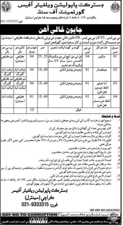 District Population Welfare Office Government Of Sindh Jobs 2021 Karachi Central
