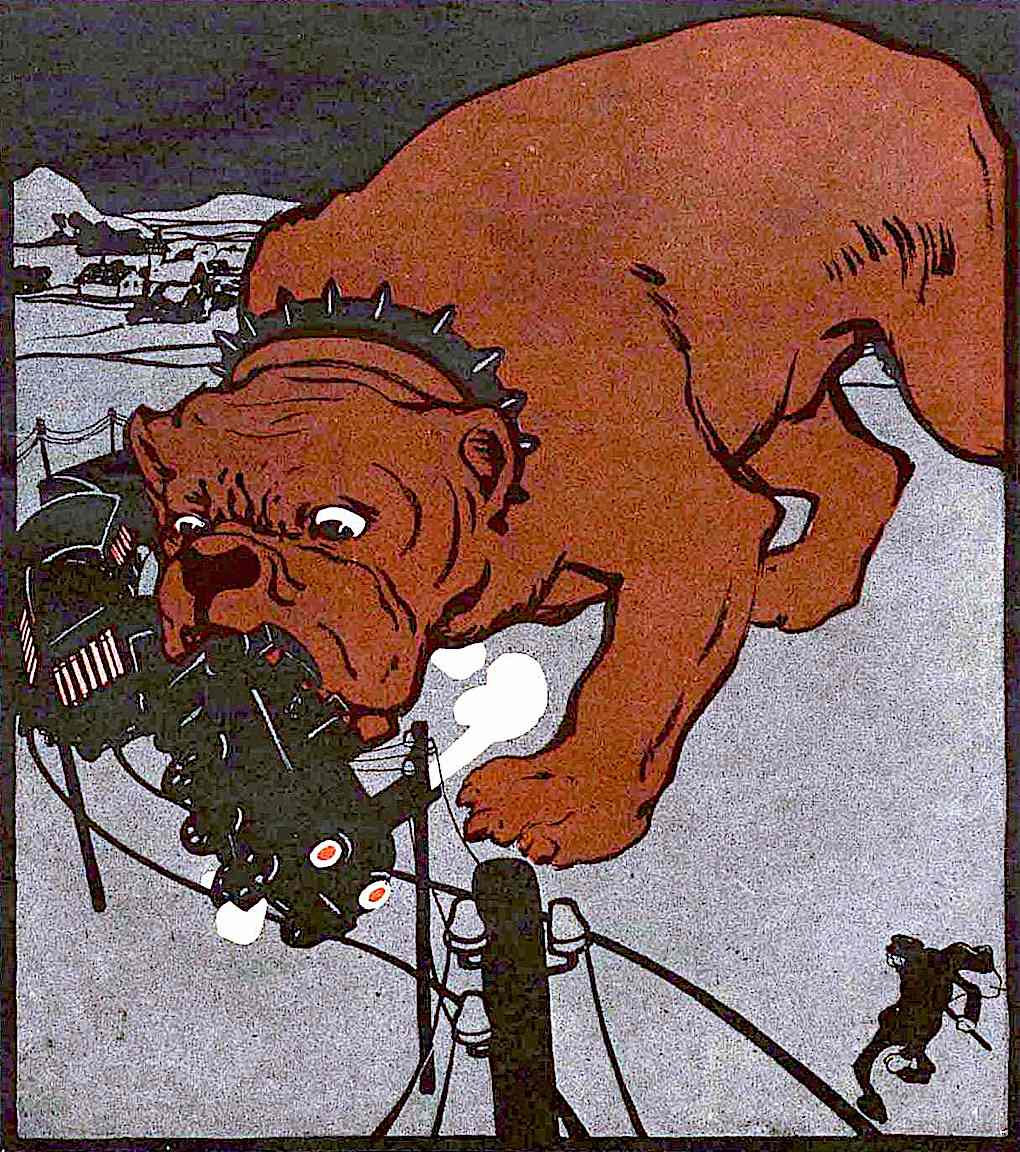 a Bruno Paul magazine illustration of a giant dog attacking a train