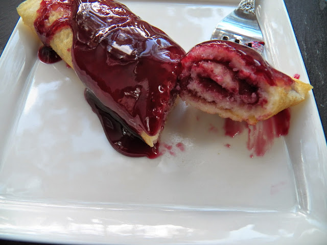 Rice Flour Crepes with Blackberry Sauce.