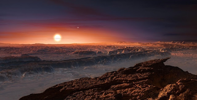 The nearest exoplanet Proxima Centauri b is situated in a multiple star system. This is what the system might look like when seen from the planet's surface (artist's impression). Photo: ESO/M. Kornmesser