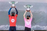 surf30 European junior Champion podium. Kauli Vaast %2528FRA%2529 %252C Janire Gonzalez Etxabarri %2528ESP%2529 9496EspinhoProJR2020Masurel