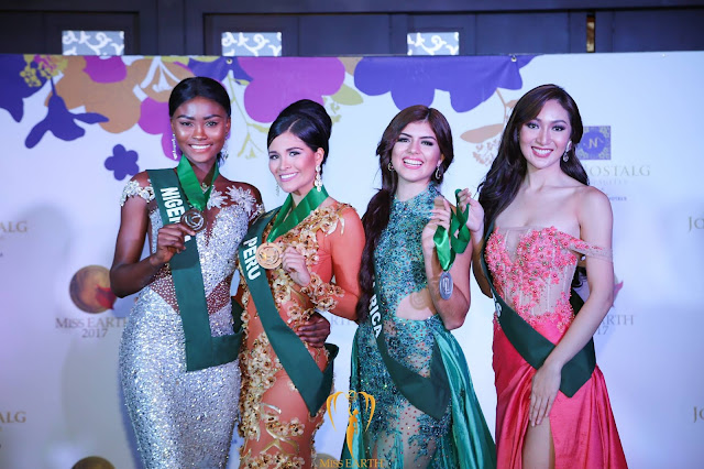 0f0ec24d4b Gown Medals  Miss Earth 2017 Long Gown Competition Group 2 Winners (L to R)  Miss Earth Nigeria Eucharia Akani (Bronze medal)