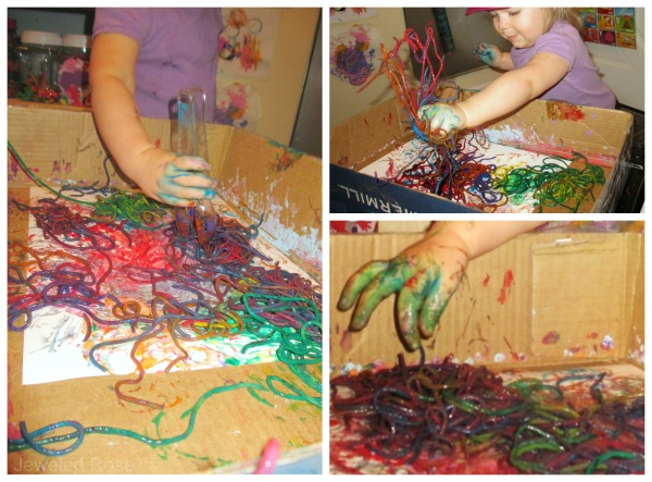 Dye noodles in every color to make rainbow spaghetti for kids. #rainbowspaghetti #howtodyepasta #sensoryactiviteistoddlers #sensoryplay #growingajeweledrose #activitiesforkids