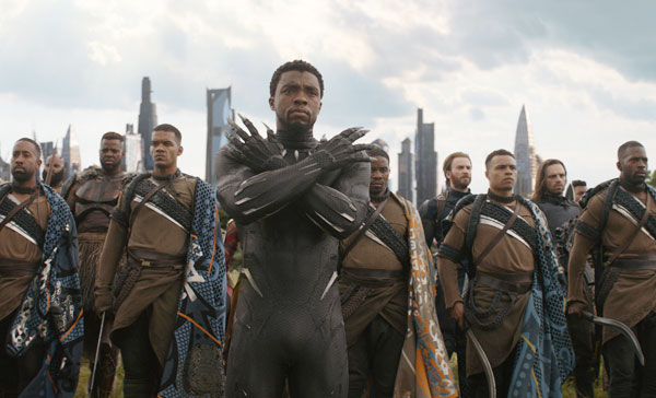 Black Panther (Chadwick Boseman) takes charge in AVENGERS: INFINITY WAR (2018)