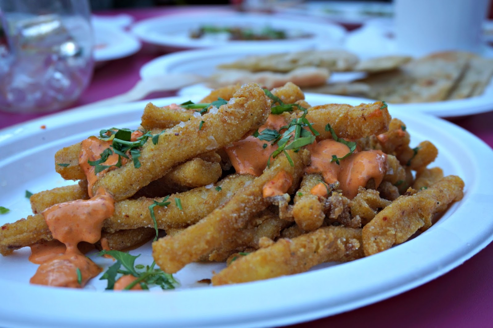 Plate of deep fried calamari and sauce