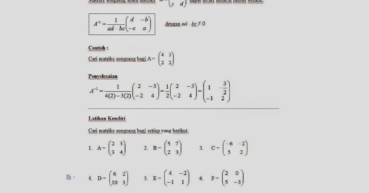 Soalan Matematik Matriks Tingkatan 5 Pewarna H