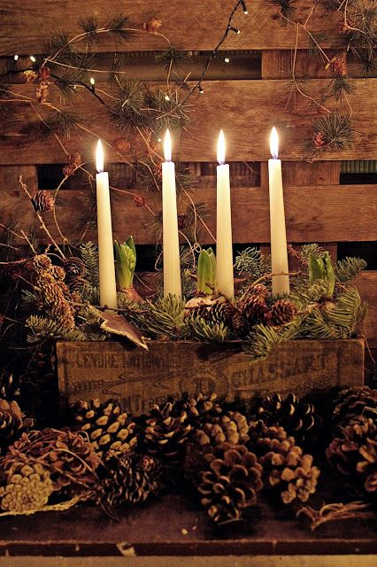 Pine cone displays in the home for winter