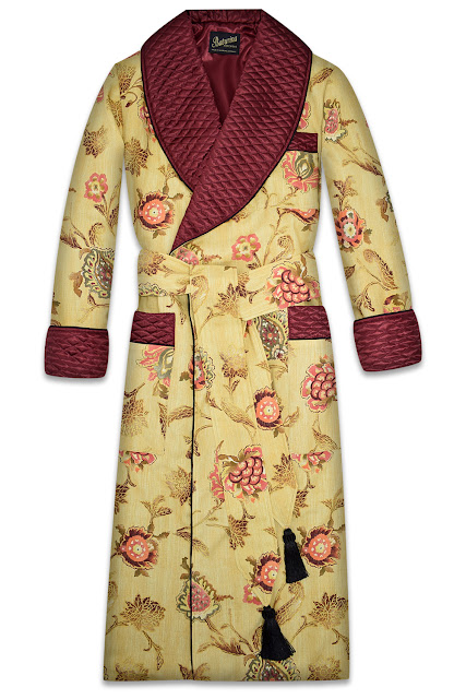 mens gold floral dressing gown burgundy silk robe smoking jacket quilted