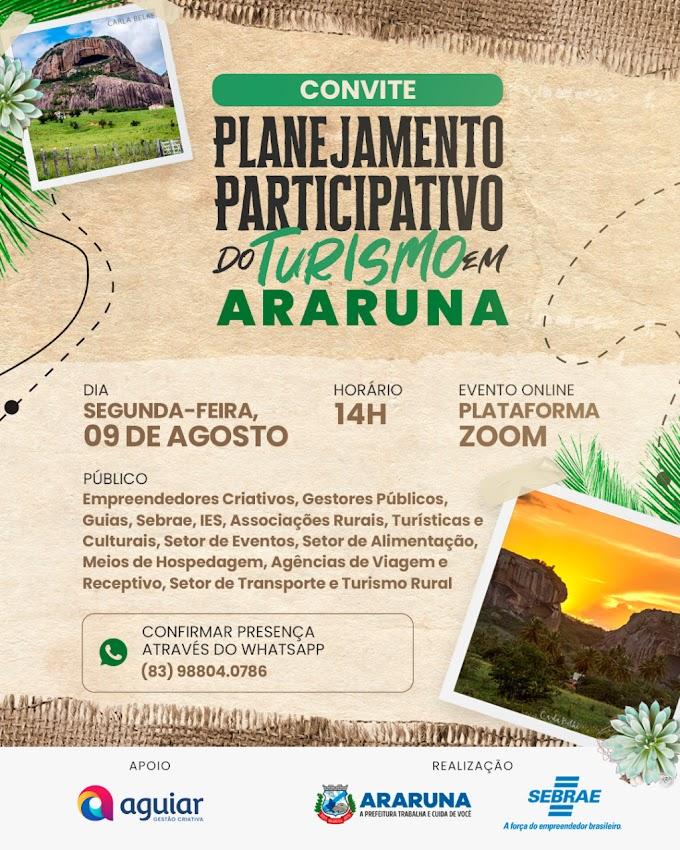 Prefeitura e Sebrae convidam para reunião do Planejamento Participativo do Turismo em Araruna