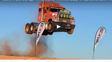 Ash Nichols creates jumping record driving his Ford LTL at Loveday 4x4 Adventure Park