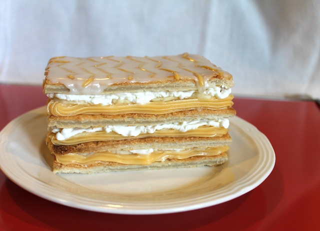 "Food Lust People Love: Napoleons are cream ""sandwiches"" made with crispy puff pastry and filled with custard and whipped cream. Banana Cream Napoleans include, of course, sweet bananas."