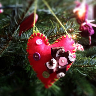 Red Felt Handmade Christmas Decoration with Buttons