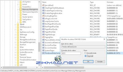 Windows 10 activer le cache L3 ThirdLevelDataCache