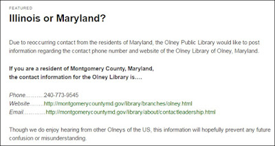 Message on Olney, IL library website directing Maryland patrons to MCPL's Olney branch