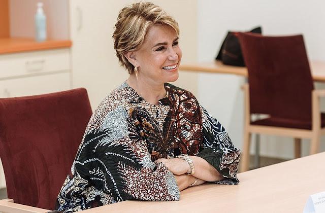 Grand Duchess Maria Teresa wore a print coat from Armani, Chanel, Valentino