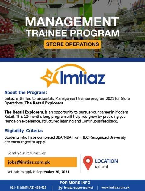 Imtiaz Store's Announced Management Trainee Program for BBA/MBA Degree Holders in September 2021