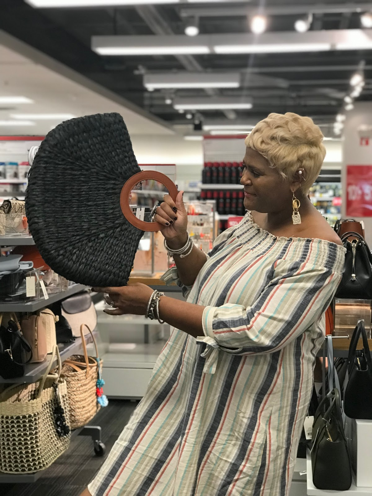 Image: Woman- Tangie Bell shopping at target for her style. Honey, I went shopping, and I almost couldn't stop, but I got myself a few cool digs.  So, yall, I have been working on my summer outfits, and I have been finding myself some cute pieces.