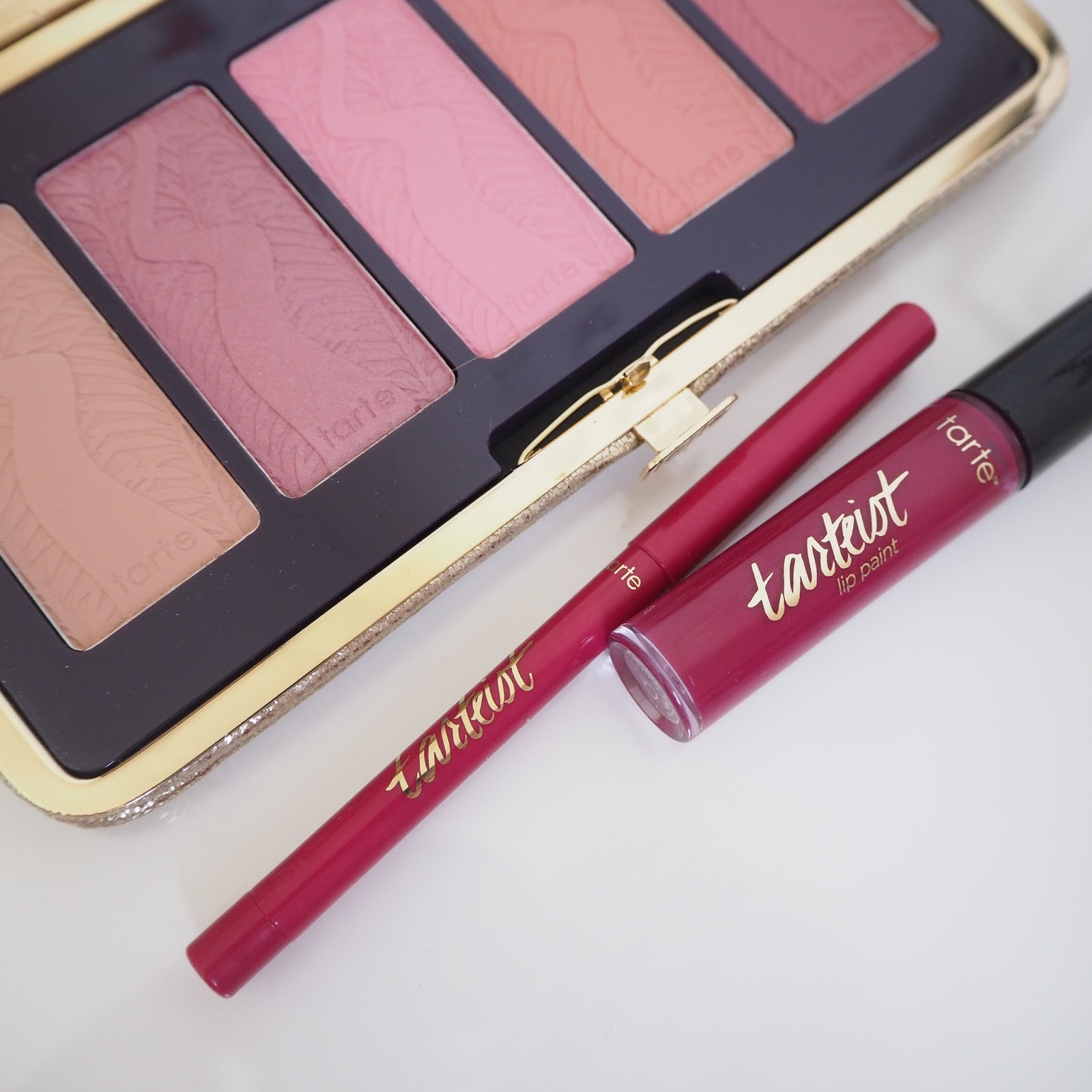 Tarte Tarteist lip paint in Love Spell and lip crayon in Magic Wand