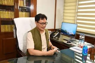 किरेन रिजिजू ने विधि और न्याय मंत्रालय का कार्यभार संभाला Kiren Rijiju takes charge of the Ministry of Law and Justice
