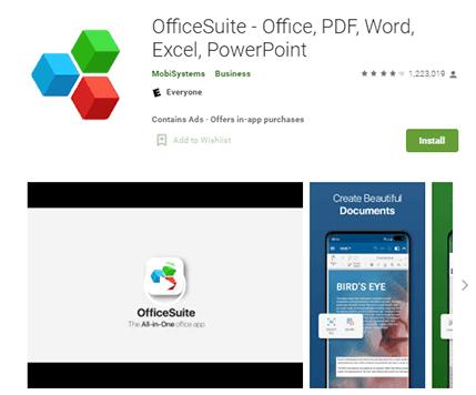 تطبيق OfficeSuite لتحويل PDF إلى وورد