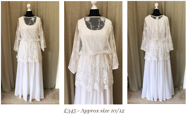 embroidered lace cape sleeve 1970's boho bohemian hippie vintage wedding dress from vintage lane bridal boutique bolton