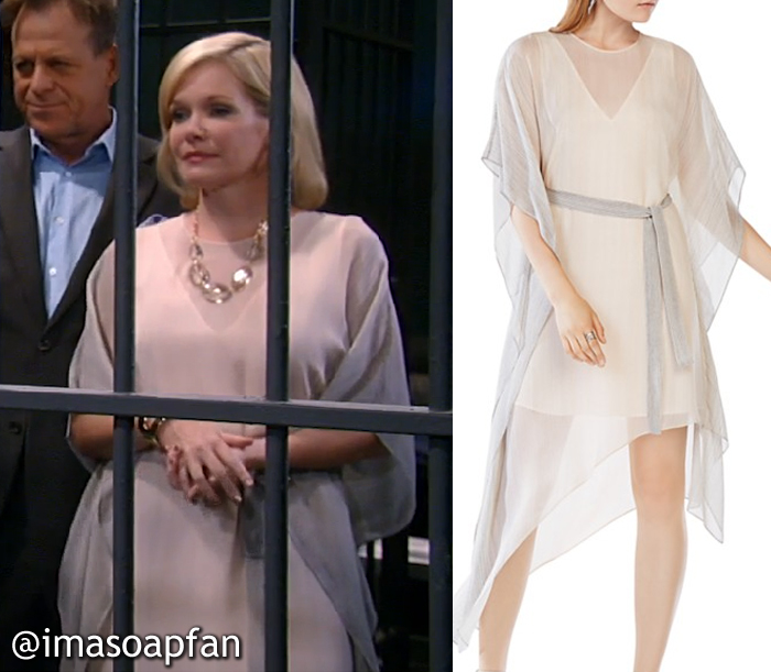 Ava Jerome's Pink and Grey Ombre Striped Chiffon Dress - General Hospital, Season 54, Episode 10/04/16