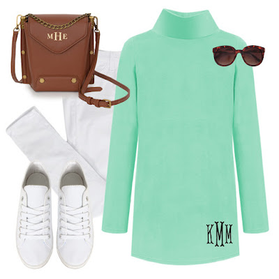 Mint monogram tunic and sneakers