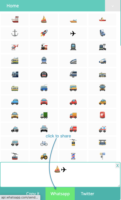 How to Share ⛵ Transport Symbols on Whatsapp?