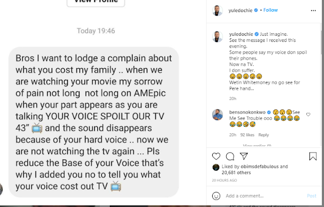 Yul Edochie Shares a funny Chat he received from a Fan Blaming him For Ruining Their TV's Audio With His Deep Voice