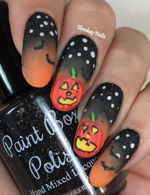 ehmkay nails: Halloween Nail Art: Glowing Pumpkin Nail Art ...