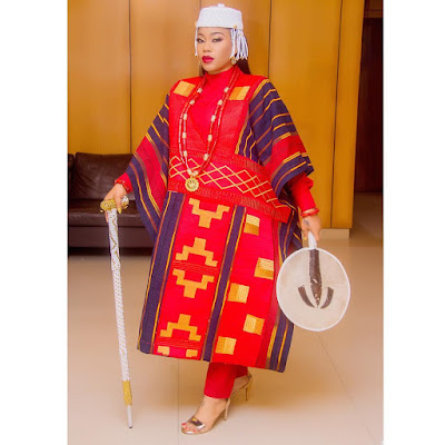 Toyin Lawani's Agbada for Chief Daddy Movie premiere