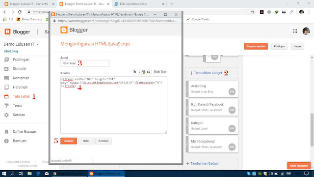 Pastekan Kode HTML di Atas pada Widget Blogger
