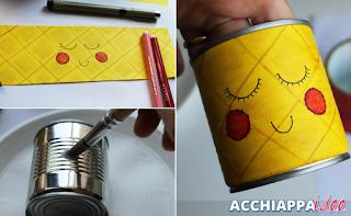 tutorial barattolo di latta disegno ananas kawaii portapenne