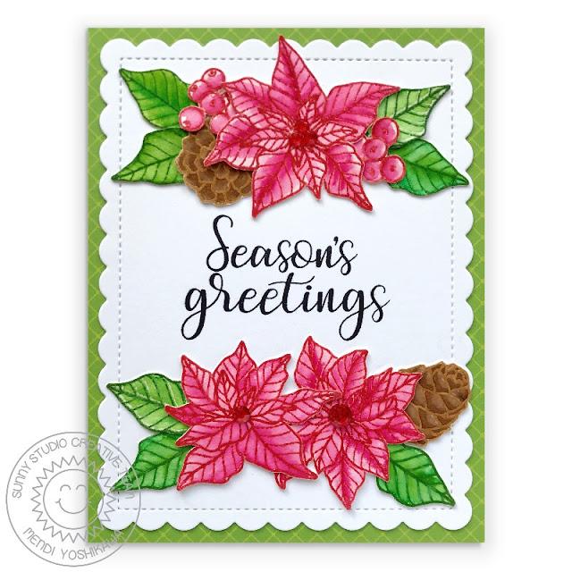 Sunny Studio Poinsettia Handmade Holiday Christmas Card (using Classy Christmas, Festive Greetings Stamps, Frilly Frames Hexagon Dies & Classic Sunburst Paper)