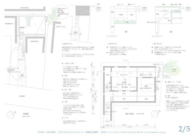 旗竿地に建つ光と風に包まれるライブラリーのある住まい 配置と1階平面計画