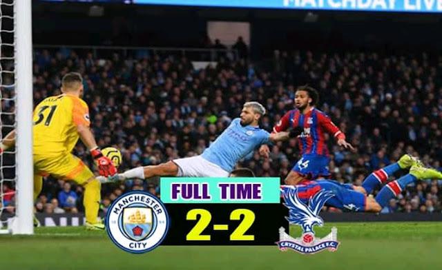 Man City 2-2 Crystal Palace, Late Fernandinho Gave Palace Draw (Details, Photos & Highlight)