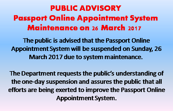 PASSPORT RENEWAL 1. Personal appearance 2. Confirmed appointment. Schedule your appointment here. Passport Appointment System IMPORTANT It is advisable NOT to purchase outbound travel tickets until your passports are actually in your possession. The Department of Foreign Affairs will not be responsible for any rebooking charges, loss of income, and other financial compensation and/or personal losses arising from the applicant's travel arrangements made while the passport has not been released. Welcome to the Online Passport Application and Appointment System of the DFA Office of Consular Affairs. Enjoy the convenience of prioritized application processing by booking a slot for your passport application in any of the DFA's participating Regional Consular Offices, Satellite Offices, or Philippine Embassy/Consulate abroad. Attention! This new online-appointment system is currently being offered only for applications intended for selected Regional Consular Offices in the Philippines, DFA Manila (Aseana) and Satellite Offices within Metro Manila (Ali Mall, SM Manila, SM Megamall, Alabang Town Center and Robinsons Novaliches). Warning! Please be advised that only Gmail or Yahoo! accounts are able to receive email confirmation at the moment. What You Will Need For Online Application Filing and Scheduling A working computer with internet access. A Web Browser. (Internet Explorer ver.11 or higher / Mozilla Firefox ver.45 and up recommended) A valid and working email address to receive system-generated messages with file attachments. A PDF reader and a working printer to view and print the system-generated the application form in A4-size paper. Application is easy! Just follow the simple steps below: About This Service The use of this online passport application system with scheduling and appointment is for the convenience of Philippine citizens residing locally or abroad seeking to apply for a passport for the first time or intending to renew the most recently issued booklet