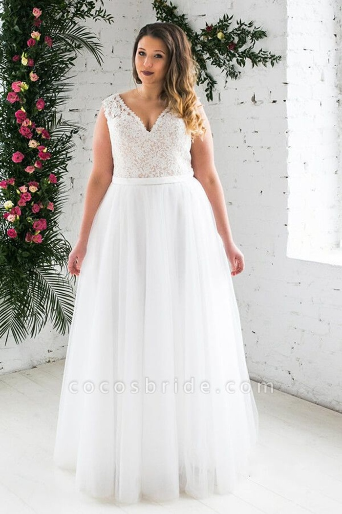 https://www.cocosbride.com/plus-size-v-neck-lace-tulle-a-line-wedding-dress-g537?cate_2=52
