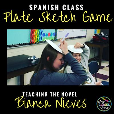 Teaching the novel Bianca Nieve y los 7 torritos - plate sketch game