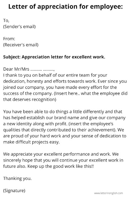 Letter of appreciation for employee