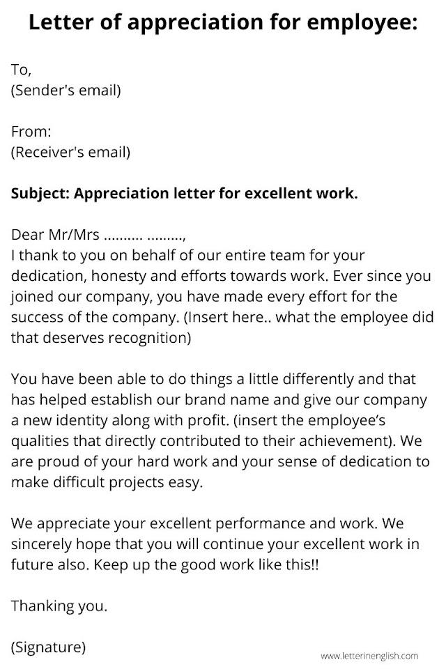 Letter of Appreciation for a good work | Best 3 Samples of appreciation letter