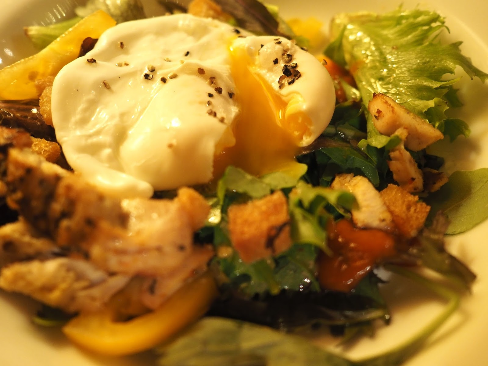 Poached egg and spiced chicken salad at Le Caveau, excellent French restaurant in Skipton, North Yorkshire