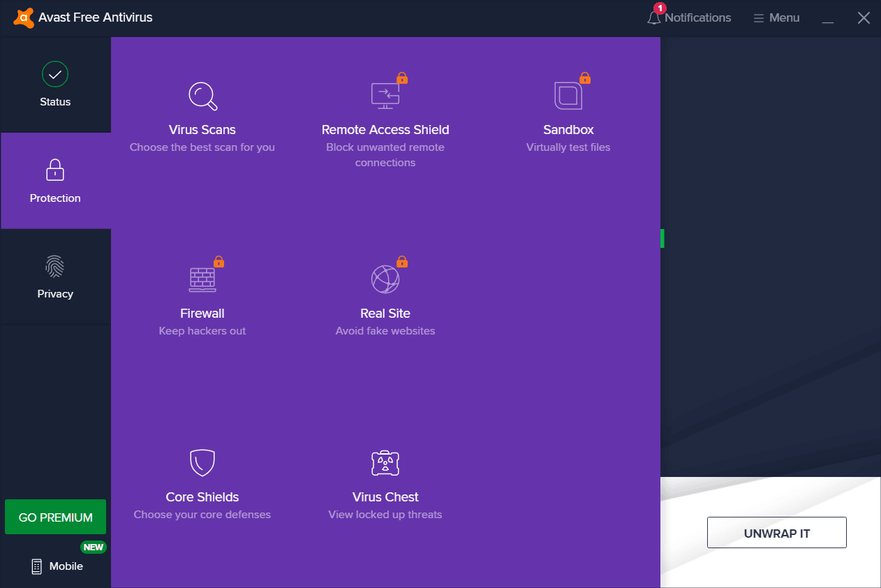 Avast Free Antivirus Protection Tab Screenshot