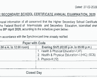 HSSC date sheet 2020 federal board pdf download