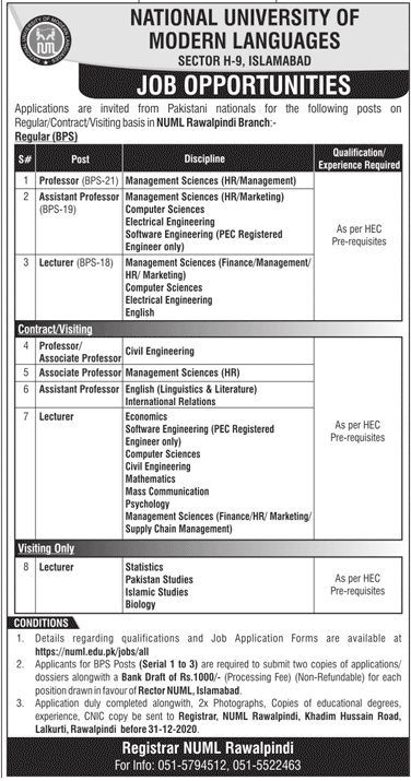National University Of Modern Language NUML Jobs 2020