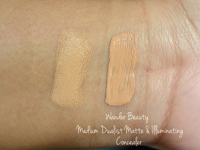 wander beauty dualist matte and illuminating concealer swatches