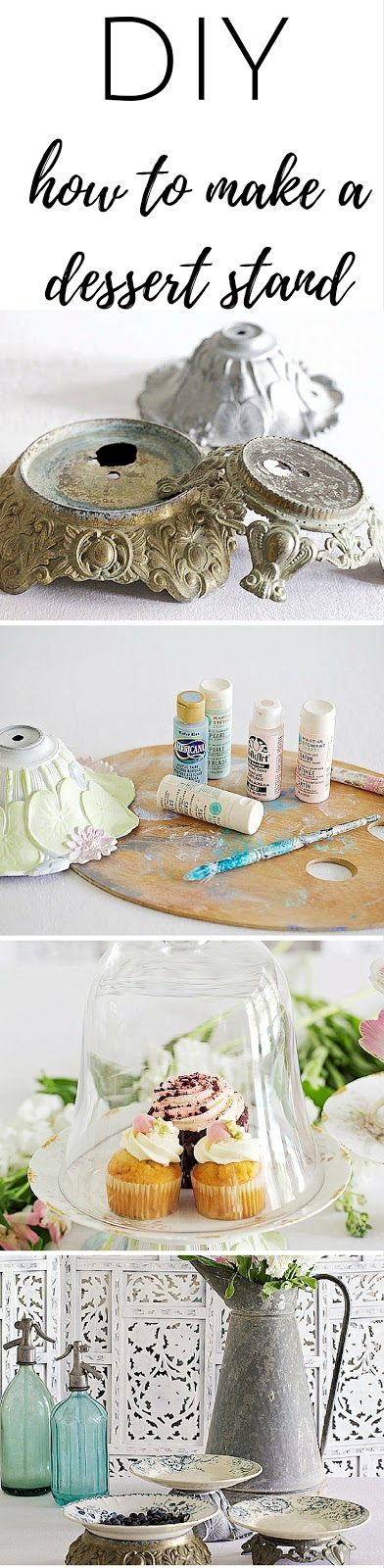 cake stand diy using old lamp parts and vintage plates